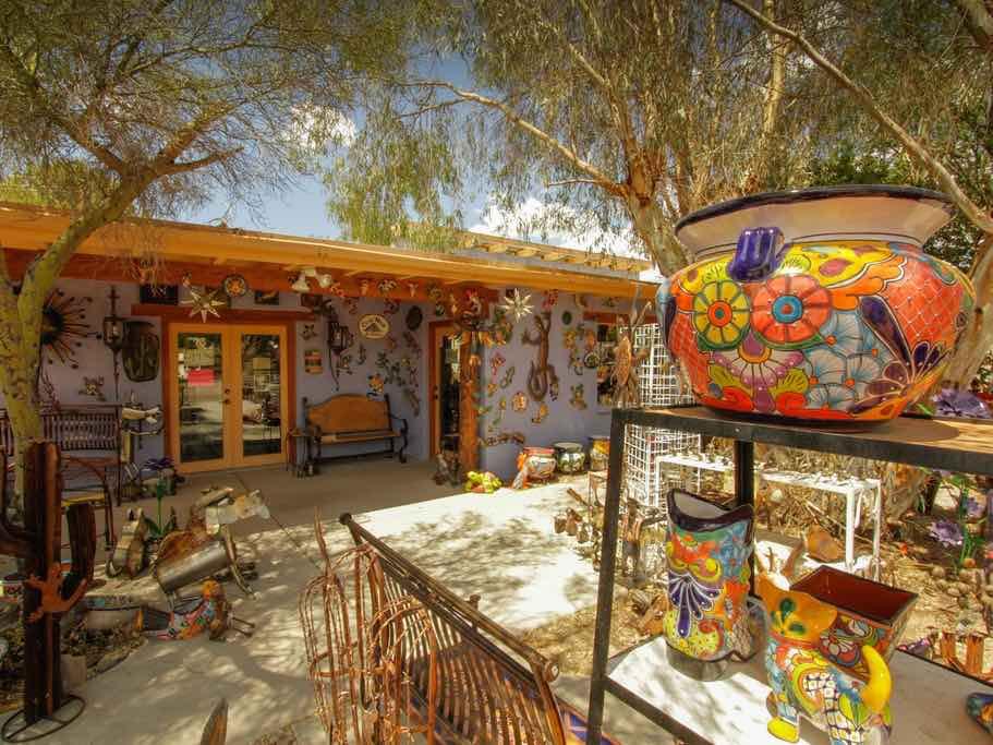 Colorful pottery outside a shop in Tubac, Arizona