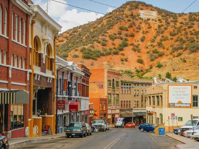 Street in Bisbee, Arizona with mountain in background