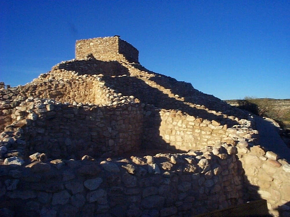 View of stone tower remains at Tuzigoot National Monument