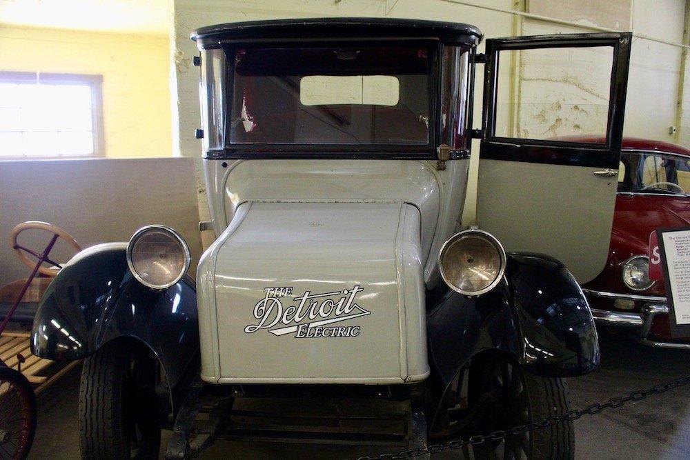 White Detroit Electric Antique car