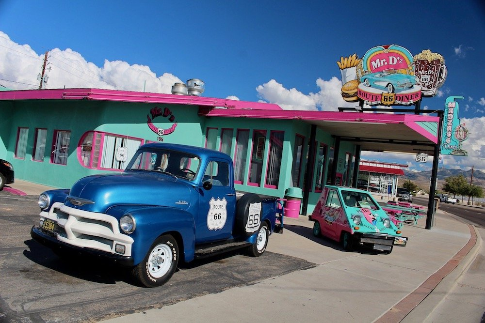 Old diner with antique pickup truck in front