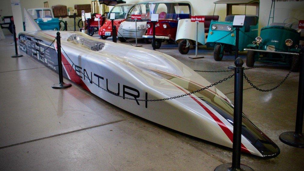 Sleek electric race car, route 66 electric vehicle museum arizona