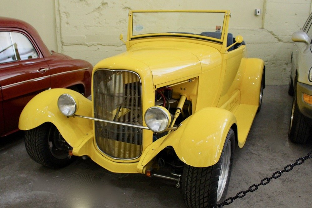 Bright yellow street rod with battery engine