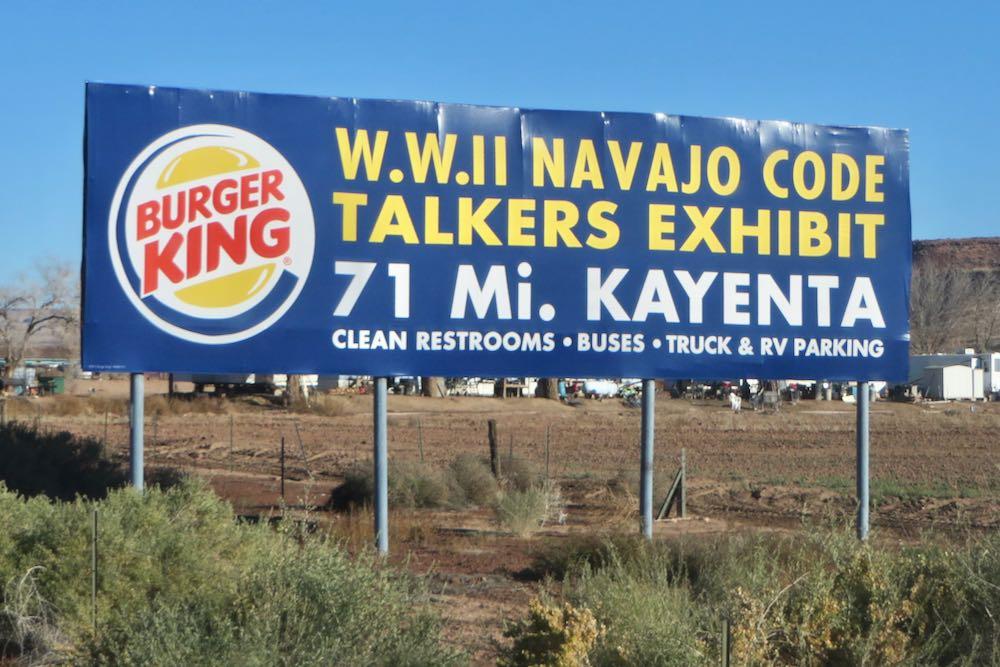 billboard near 4 corners advertising code talkers exhibit at Burger King