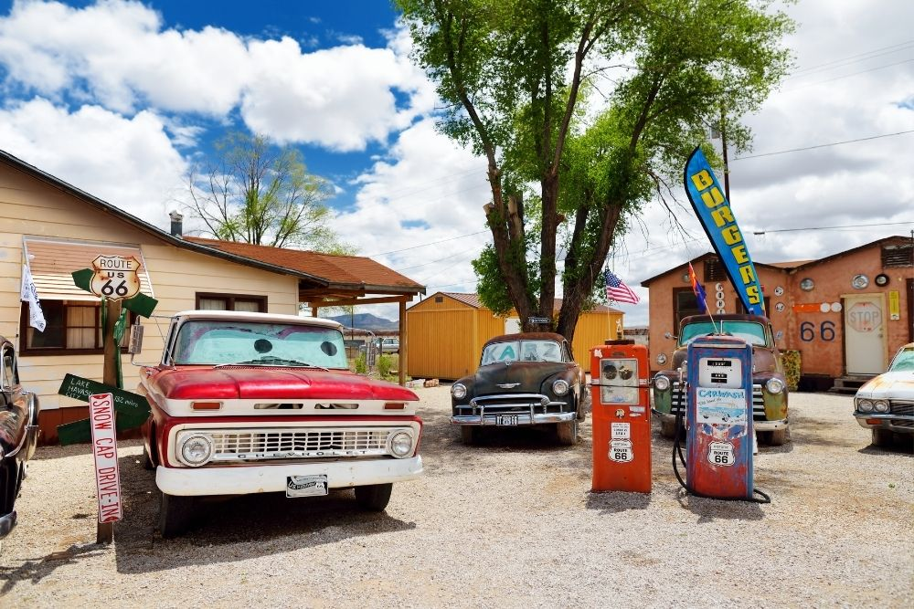 old cars around old gas pumps, Seligman, AZ
