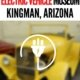Yellow street rod (blurred) with electricity icon superimposed