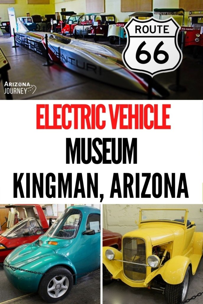 Montage of electric vehicles, with Route 66 logo superimposed