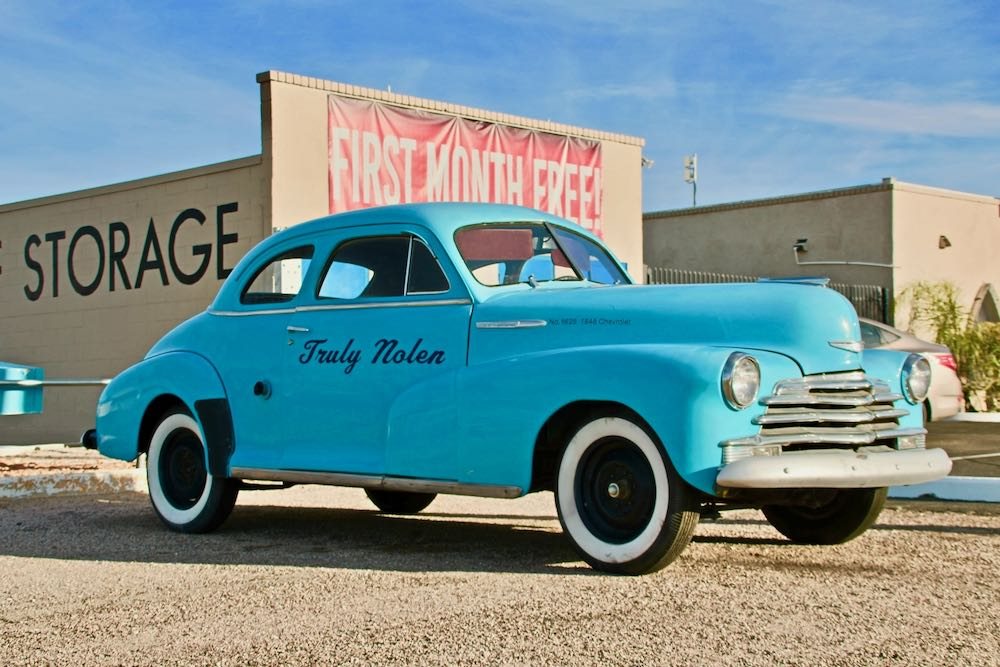 1948 light blue Chevy-one of the Truly Nolen cars to be found on a random Tucson street corner