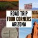 montage of sights near 4 corners: monument valley, 4 corners sign, hoodoos, 4 corners plaque