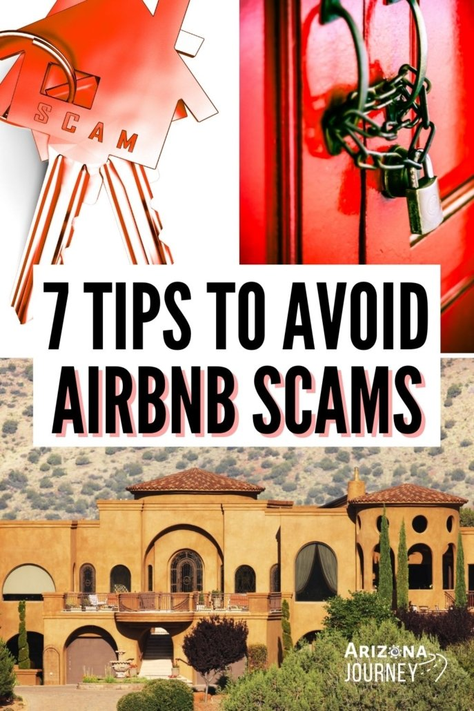 Tips to avoid scams on Airbnb-photo montage: set of keys, door with chain and padlock, arizona mansion
