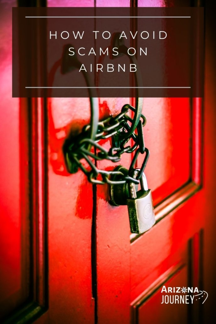 """Red door with chain and lock with """"scams on Airbnb"""" text overlay"""