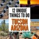 Unique things to do Tucson Arizona-montage of 4 photos: planes in boneyard, kissing at sunset, wall mural of woman, biking in desert