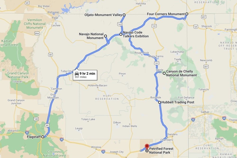 Map showing route of 4 Corners Monument road trip