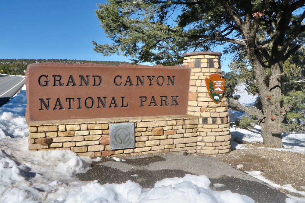 Entrance to Grand Canyon National Park with snow-Grand Canyon November