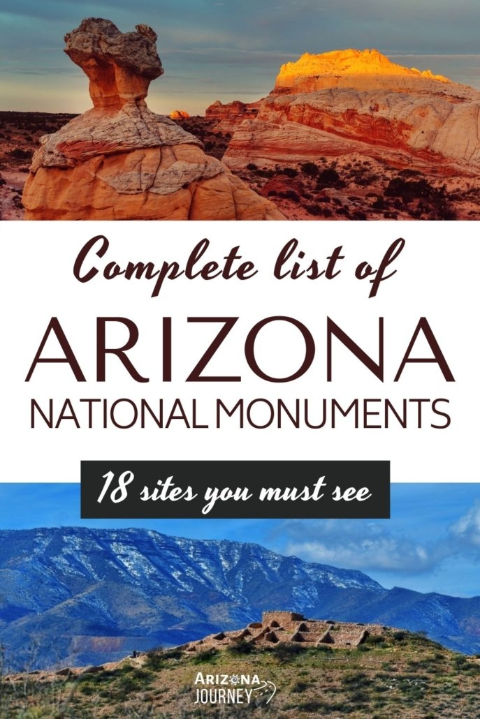 2 images of Arizona National Monuments-Vermilion Cliffs red rocks and Tuzigoot pueblo on the plains