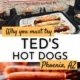 image of teds hot dogs on a tray above photo of hot dogs on a charcoal grill