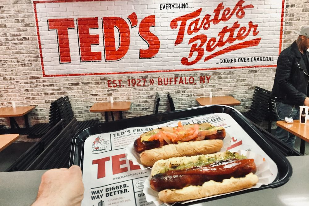 Hot dogs on a tray at Ted's Hot Dogs in Phoenix (Tempe), Arizona