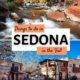 Sedona arizona things to do in fall-oak creek canyon with foliage by stream, tlaquepaque shopping village and art colony