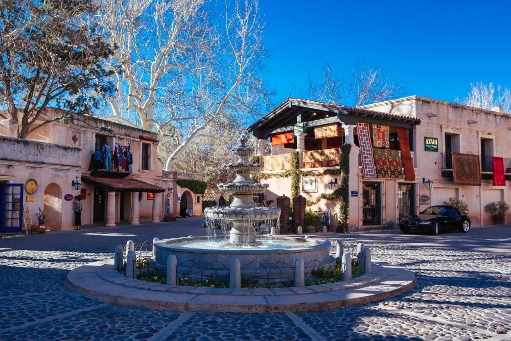 Tlaquepaque artist village in sedona-buildings with mexican-style fountain in front