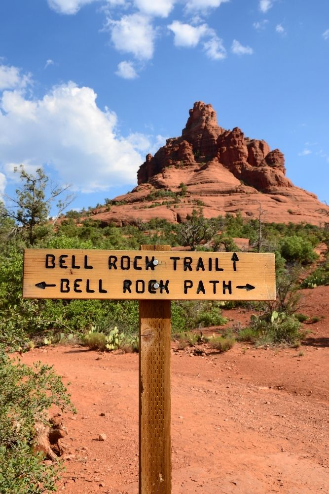 Trail markers for Bell rock trail near Sedona with bell rock in background