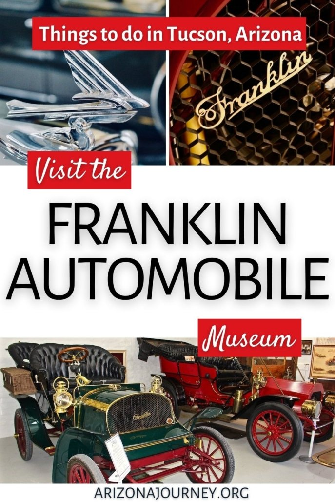 montage of franklin cars images-hood ornament, front grill, old roadsters, plus text overlay to visit the museum