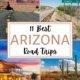 montage of photos on an arizona road trip-highway with red rocks, sign for entering Tombstone, cactus in desert, western town at sunset