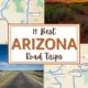 montage of images for an arizona road trip: map of route to sedona, photo of monument valley, map of route to tombstone, photo of historic route 66