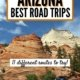 Image on an arizona road trip-orange and white rock formations beyond a car on a road with double yellow line