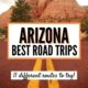 Image of scenery on an arizona road trip-red rock formation in front of a road with double yellow line