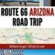horizontal images along route 66 in arizona-twin arrows, road trip route map, road closed barrier