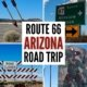 montage of photos along route 66 in Arizona-twin arrows, road sign, cowboy water tank, road closed barrier