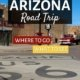 route 66 sign in the middle of the road in Windslow arizona-perfect for a route 66 road trip