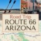 images along route 66 in arizona-twin arrows, locomotive, map of road trip route