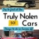 """two 1950s cars with """"truly nolen"""" painted on the side"""