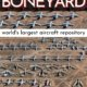 aerial view of multiple types of military aircraft at the tucson boneyard