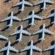 aerial view of military aircraft at the Tucson airplane graveyard-the boneyard