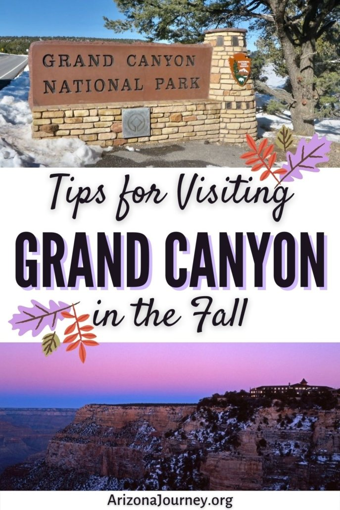 sign at entry of Grand Canyon National Park in snow, above image of El Tovar Hotel at twilight